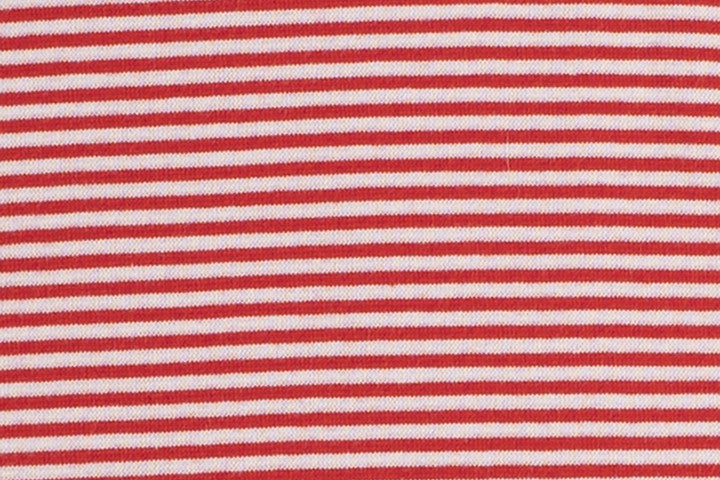 Euro Yarn Dyed Fine Striped 2mm RIBBING/CUFF - Red and White 10cm x 70m, TUBED
