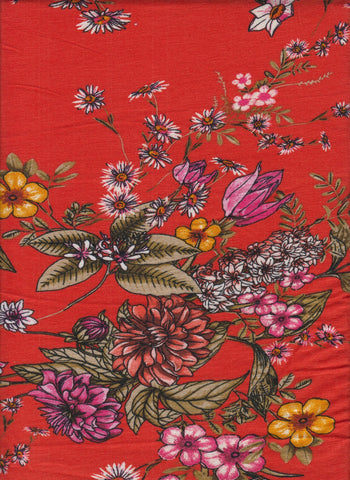 US KNIT- Orange Floral Delight- sold per YARD x 58/60 inches wide