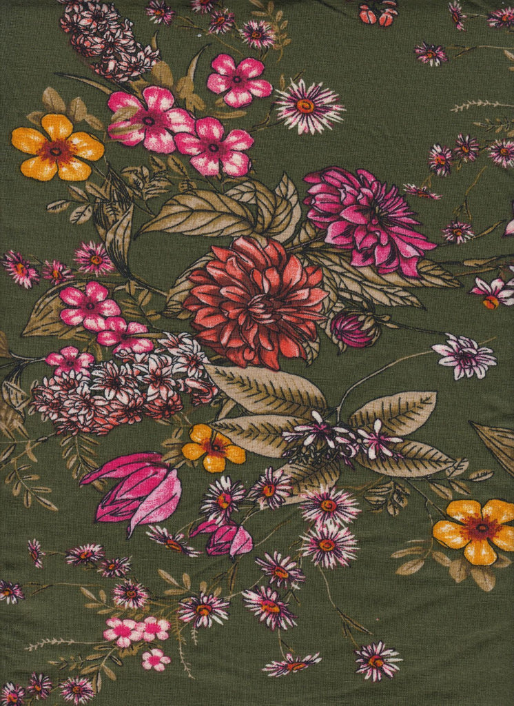 US KNIT- Olive Floral Delight- sold per YARD x 58/60 inches wide