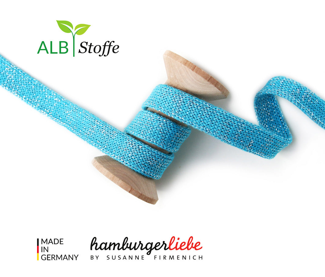 Hamburger Liebe- GLOW Cord Me- Turquoise - Organic Cotton per m x 1.2cm wide