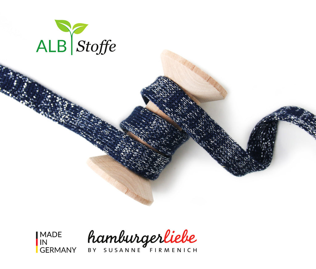 Hamburger Liebe- GLOW Cord Me- Navy - Organic Cotton per m x 1.2cm wide