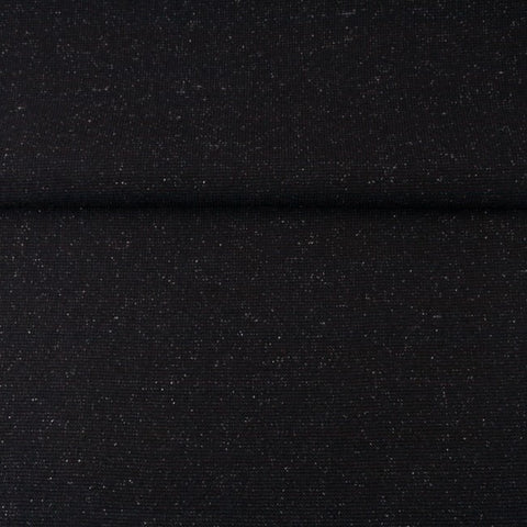 Euro Lurex Smooth Tubed Ribbing- Black with Silver - sold per 25cm x 75cm