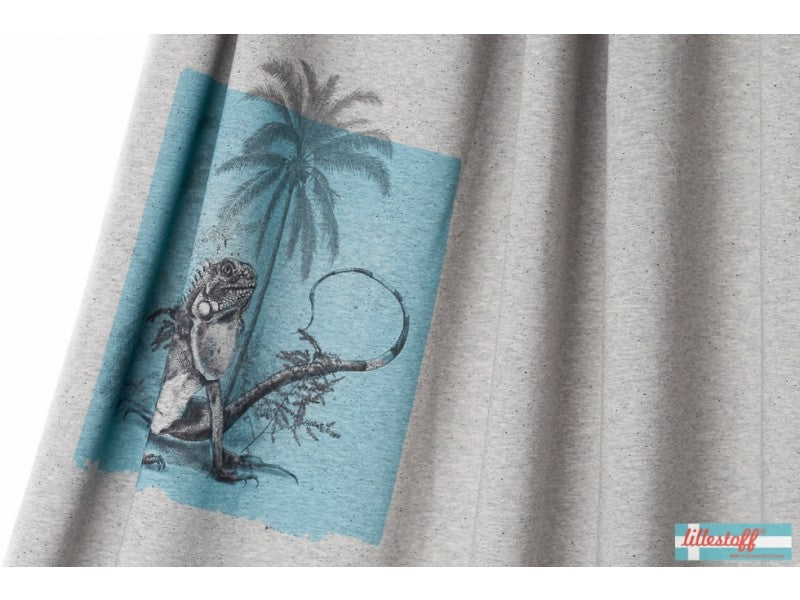 Lillestoff Organic Jersey- Leguan (Iguana) on Grey Marle Panel 80cm x 150cm