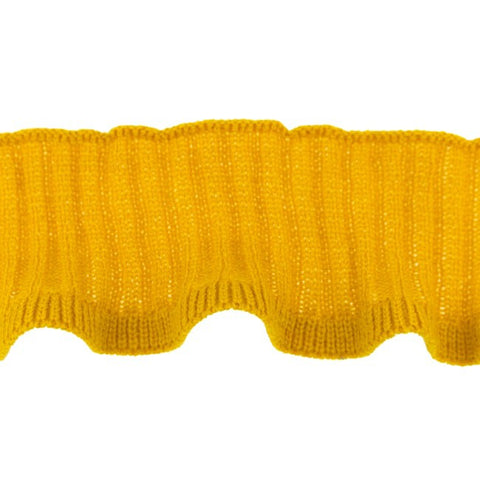Happy Elephant Knitted Ruffle  Cuff -Ochre- per m x 7cm wide