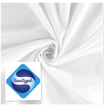 Antibacterial Sanitized Optical White Poplin- 50cm x 150cm