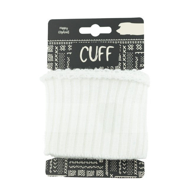 Happy Elephant Uni cuff Rib - White- 110cm x 7cm wide
