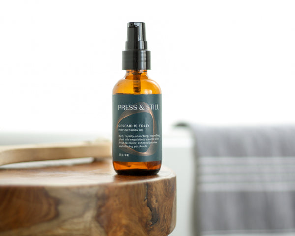 Press & Still's Despair is Folly all-natural perfumed botanical body oil