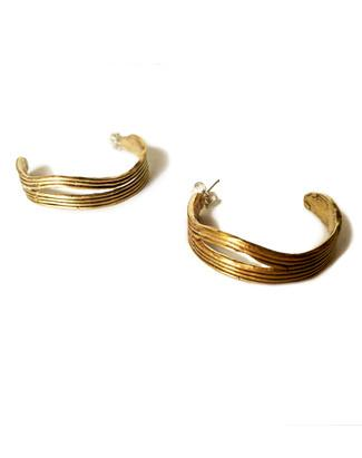Low tide earrings in recycled brass, with sterling silver ear posts.