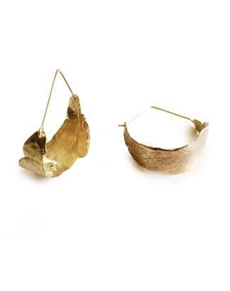 Sequoia hoop earrings in recycled brass and gold-filled ear wires.