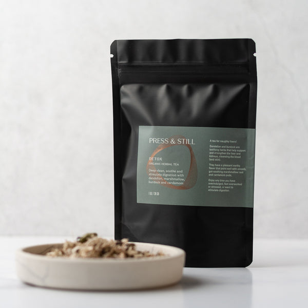 Organic herbal tea made with marshmallow, dandelion and burdock roots, and cardamom pods.