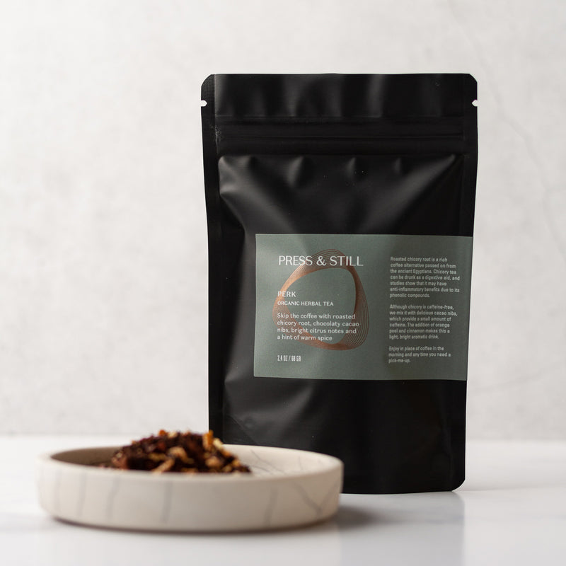 Mildly caffeinated organic herbal tea made with roasted chicory root and cacao nibs.