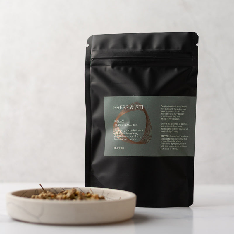 Relax organic herbal tea made with chamomile and lavender blossoms, skullcap and lobelia.