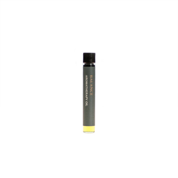 Balance aromatherapy oil (0.03 fl oz/1 ml). Organic jojoba exquisitely scented with geranium, lemongrass, rhododendron leaf and patchouli essential oils.