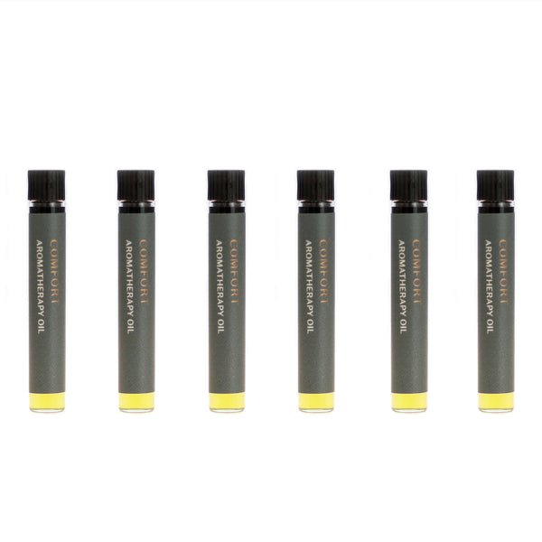 Case of six Comfort aromatherapy oils (0.03 fl oz/1 ml). Organic jojoba exquisitely scented with melissa, rose, hyssop and sweet marjoram essential oils.