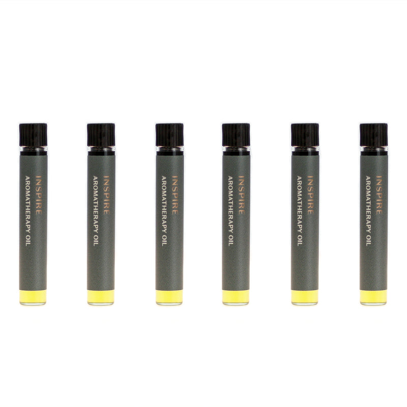 Case of six Inspire aromatherapy oils (0.03 fl oz/1 ml). Organic jojoba exquisitely scented with lime, petitgrain, jasmine and rose essential oils and extracts.