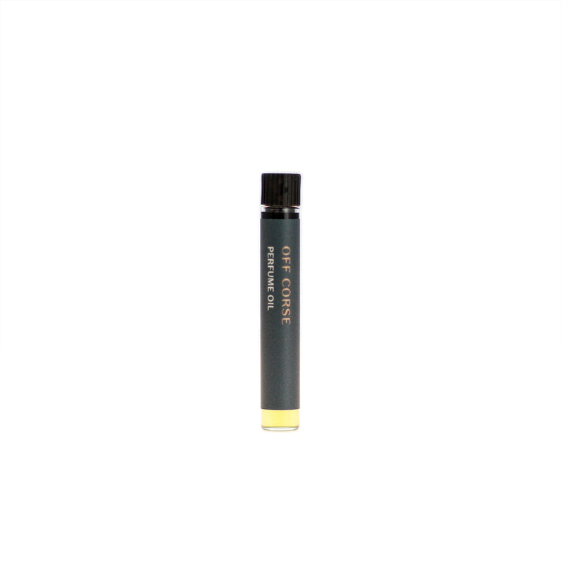 Off Corse botanical perfume oil (0.03 fl oz/1 ml). Organic jojoba exquisitely scented with sweet-green lavender, rich patchouli and ambery labdanum essential oils.