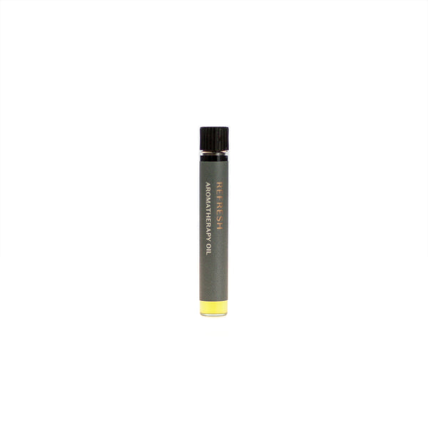 Refresh aromatherapy oil (0.03 fl oz/1 ml). Organic jojoba exquisitely scented with eucalyptus, lemongrass, peppermint and palo santo essential oils.