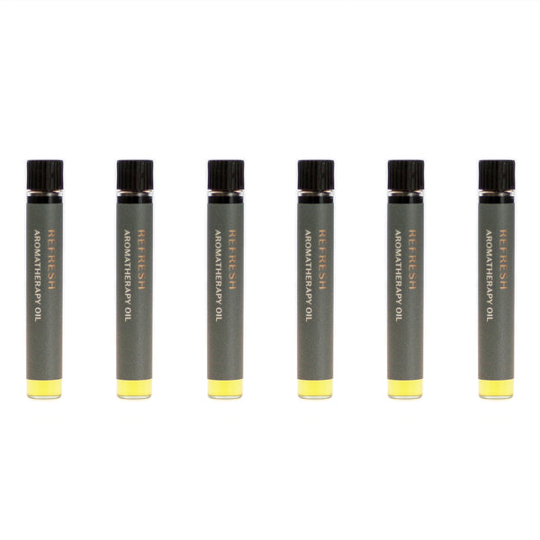 Case of six Refresh aromatherapy oils (0.03 fl oz/1 ml). Organic jojoba exquisitely scented with eucalyptus, lemongrass, peppermint and palo santo essential oils.