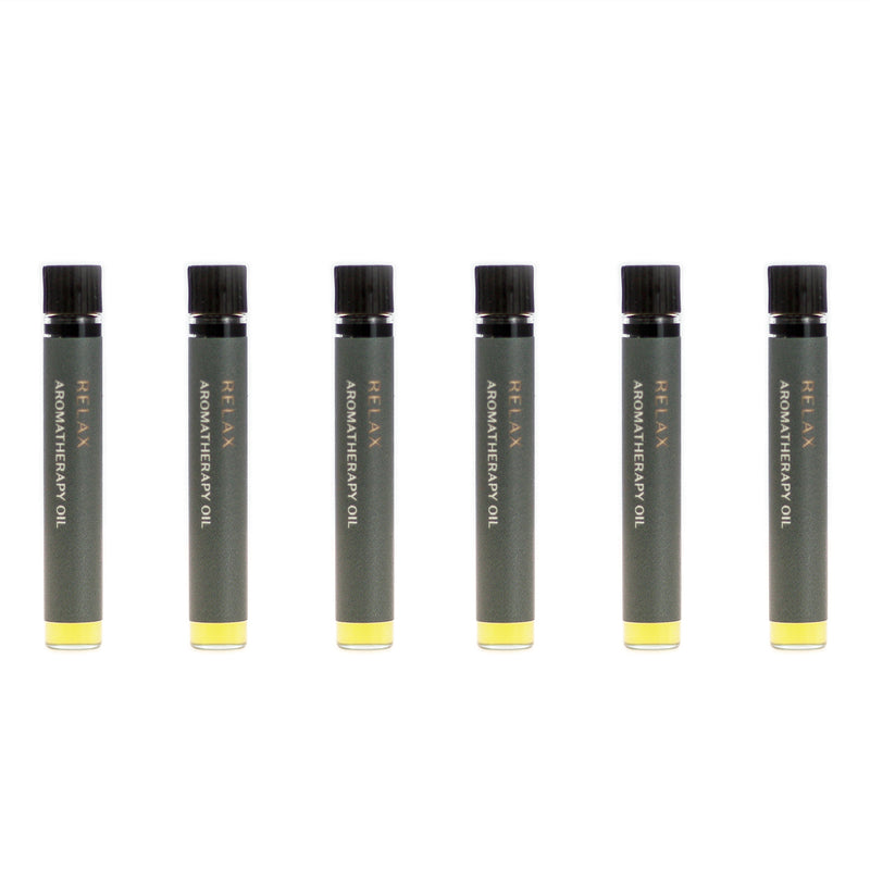 Case of six Relax aromatherapy oils (0.03 fl oz/1 ml). Organic jojoba exquisitely scented with lavender, ylang ylang, vanilla and vetiver essential oils and extracts.