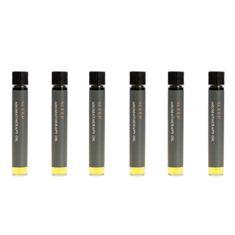 Case of six Sleep aromatherapy oils (0.03 fl oz/1 ml). Organic jojoba exquisitely scented with sweet marjoram, chamomile, lavender and sandalwood essential oils.