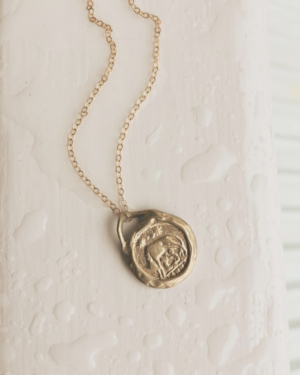 Roma coin necklace. Recycled brass pendant with gold layer and gold-filled chain.