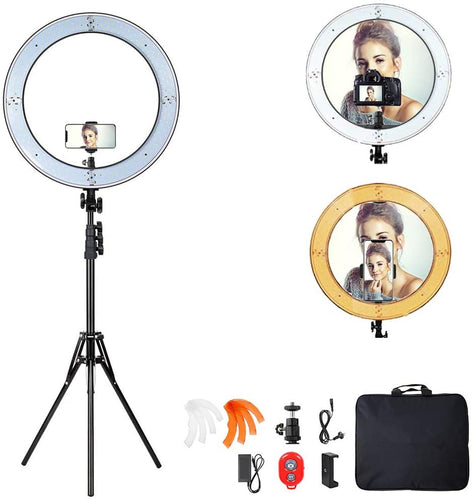 18-inch Ring Light with Stand Dimmable LED