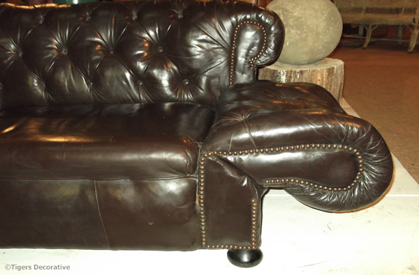 Late 19th Century Drop End Leather Sofa