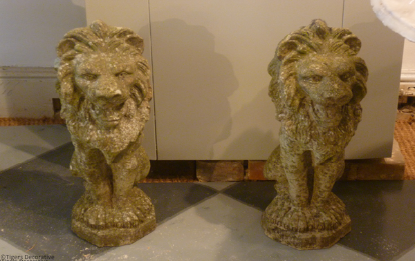 Pair Of 20th Century Composite Stone Lions