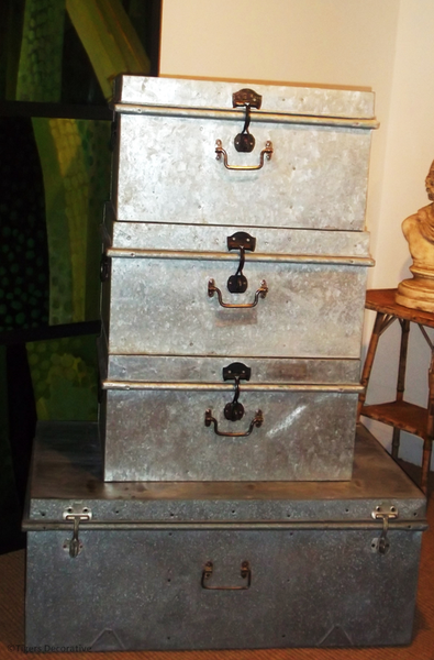 Set Of Tin Trunks
