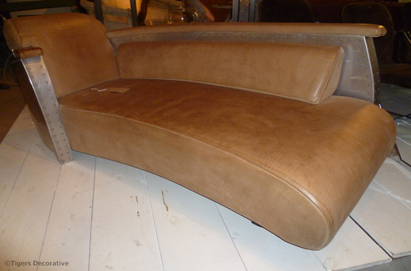 Mid 20th Century Aluminium & Leather Curved Chaise