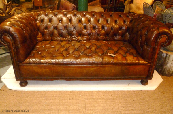 Large Edwardian Leather Chesterfield Sofa