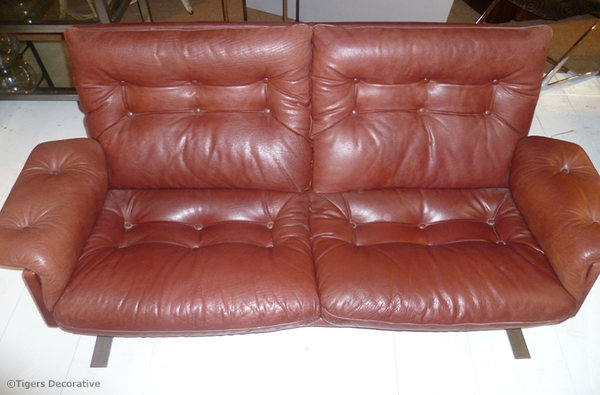 Danish Leather Stainless Steel Sofa