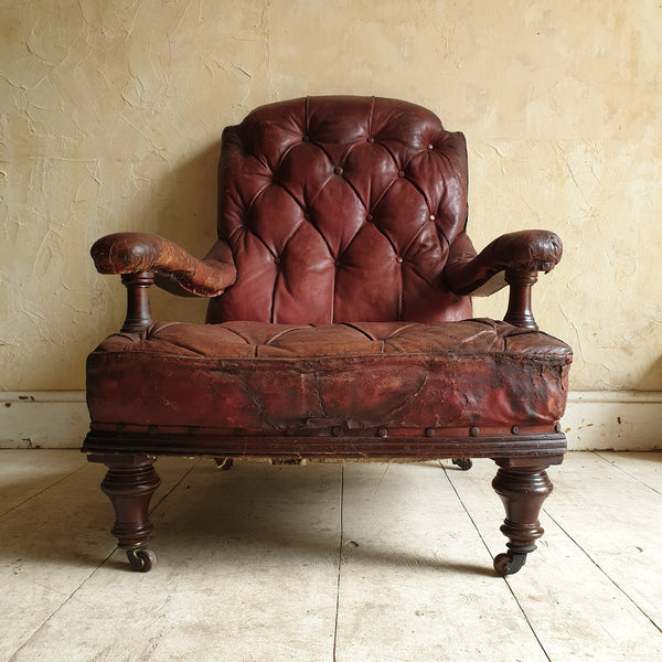 Victorian Leather Library Chair