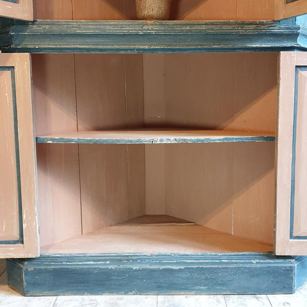 19th Century Painted Pine Corner Cupboard