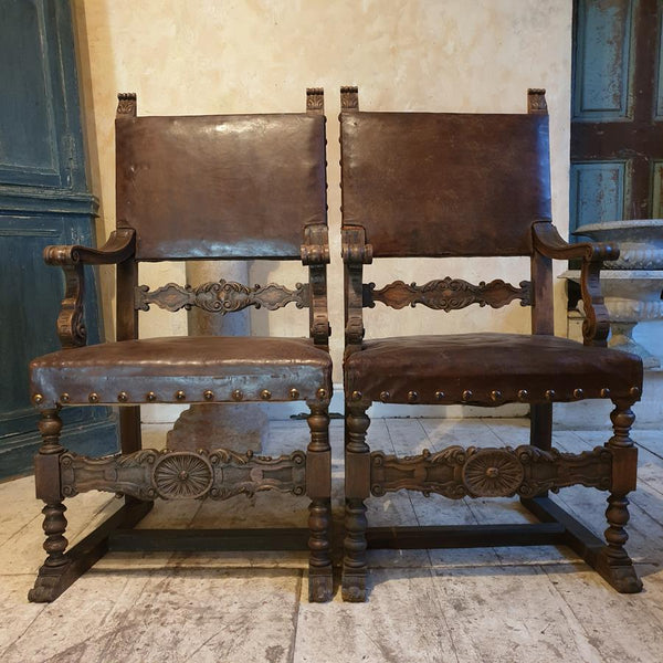 Pair Of Italian Walnut Chairs
