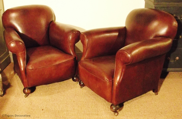 Pair Of Early 20th Century French Club Chairs