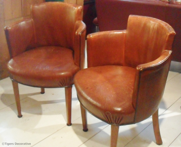 Pair Of Leather Theatre Tub Chairs
