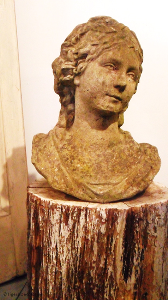 20th Century Composite Stone Bust Of A Girl