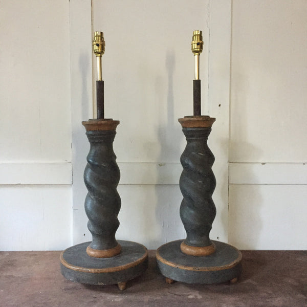 Four Barley Twist Lamps