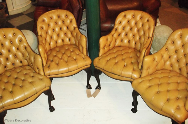 Set Of Four Leather Buttoned Armchairs In The Georgian Style