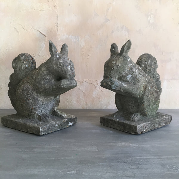 Pair Of Composite Stone Squirrels
