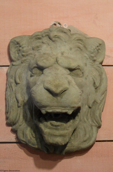 20th Century Composite Stone Lion Head Fountain