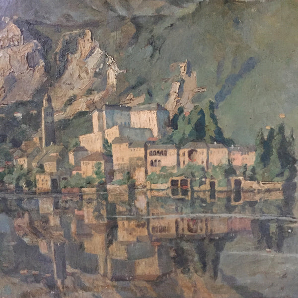 Lakeside Village Oil On Canvas