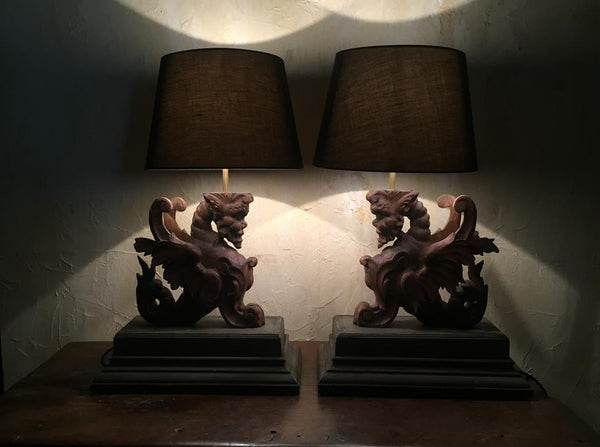 Pair Of French Carved Lamps