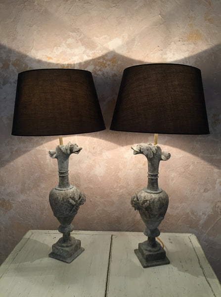 Pair Of Carved Lamps