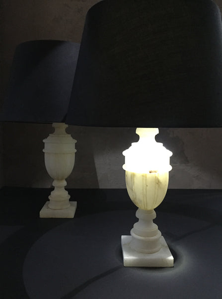 A Pair Of Marble Lamps