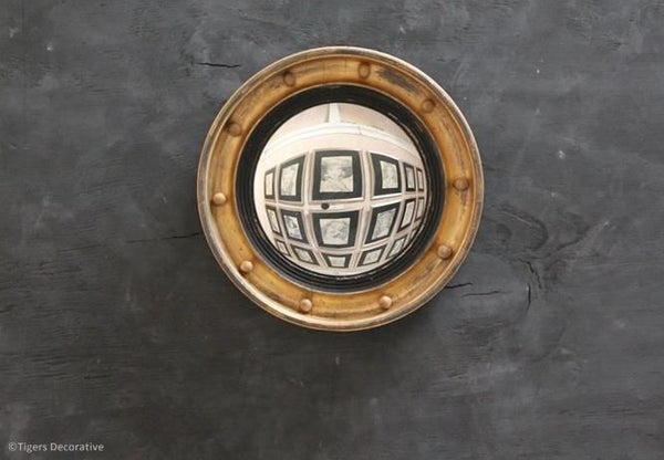 Late 19th Century Small Circular Gilded Convex Mirror