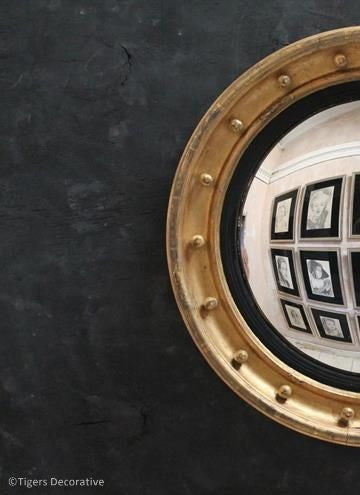 19th Century Large Gilded Circular Convex Mirror