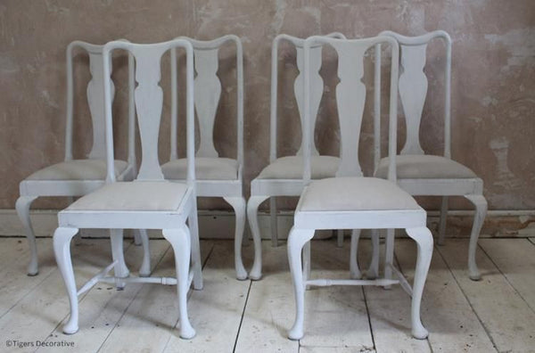 Set Of Six Mid 20th Century Painted Dining Chairs With Linen Seats