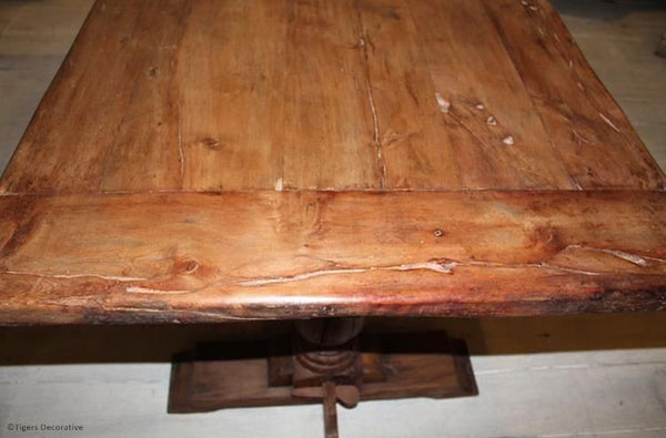 Mid 20th Century Solid Yew Wood Table